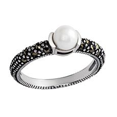 Sterling Silver Cultured Freshwater Pearl and Gray Marcasite Ring