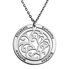 Sterling Silver Engraved Family Name Filigree Disc Necklace
