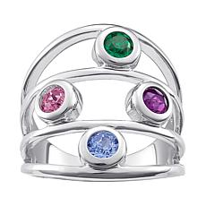 Sterling Silver Family 4-Stone Birthstone Multi-Row Ring