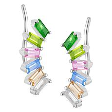 Sterling Silver Family Marquise Birthstone Ear Climber Earrings