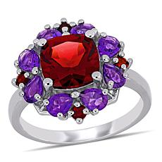 Sterling Silver Garnet and Amethyst Quatrefoil Floral Ring