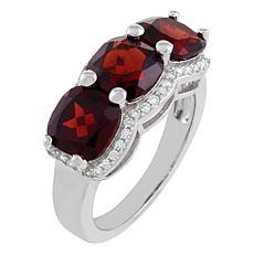 Sterling Silver Gemstone Cushion-Cut Halo 3-Stone Engagement Ring