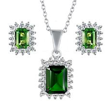 Sterling Silver Gemstone Emerald-Cut Necklace and Stud Earrings Set