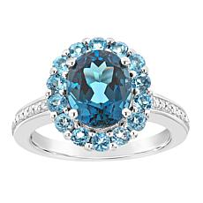 Sterling Silver London and Swiss Blue Topaz Diamond Accent Ring
