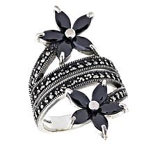 Sterling Silver Marcasite and CZ Flower Bypass Ring