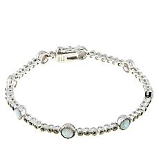 Sterling Silver Marcasite and Lab-Created Opal Line Bracelet