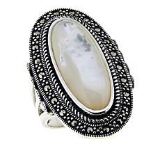 Sterling Silver Marcasite and Mother-of-Pearl Elongated Oval Ring