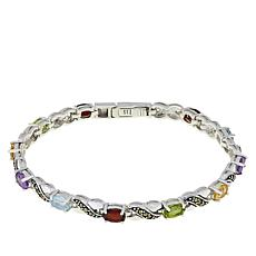 "Sterling Silver Marcasite and Multi-Gemstone ""X & O"" Bracelet"