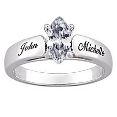 Sterling Silver Marquise CZ Personalized Ring