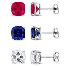 Sterling Silver Multi-Color Created Gemstone Stud Earrings Set - White