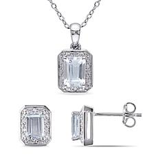 Sterling Silver Octagonal Aquamarine and Diamond Pendant and Earrings