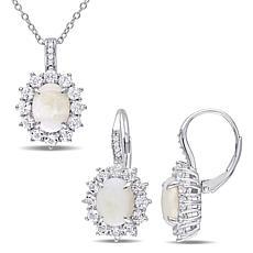 Sterling Silver Opal, White Topaz and Diamond Oval Pendant & Earrings