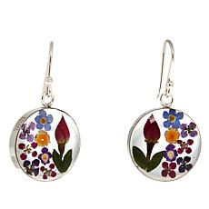 Sterling Silver Round Handpicked Dried Flower Drop Earrings