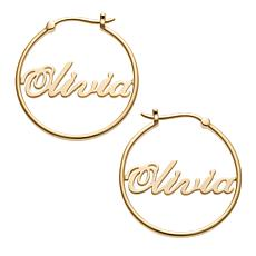 Sterling Silver Script Name Hoop Earrings