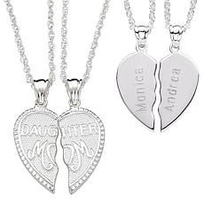 Sterling Silver Share-able Mom & Daughter Engraved Pendant