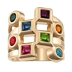 Sterling Silver Square and Round Birthstone Ring - 8 Stones