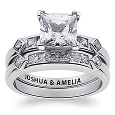 Sterling Silver Square CZ 2-Piece Engraved Wedding Set