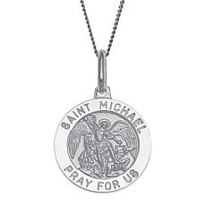 Sterling Silver St. Michael Personalized Round Pendant with Chain