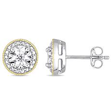 Sterling Silver Two-Tone .10ctw Diamond Filigree Stud Earrings