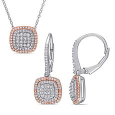 Sterling Silver Two-Tone .96ctw Diamond Halo Earrings and Pendant Set