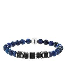 Steve Madden Men's Lava and Simulated Lapis Bead Stretch Bracelet