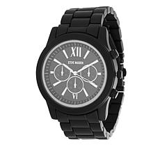 Steve Madden Men's Silvertone Matte Black Chronograph Bracelet Watch