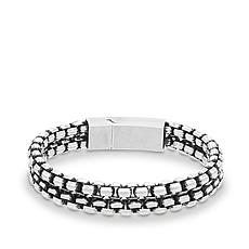 "Steve Madden Men's Stainless Steel Double Row Box Chain 8"" Bracelet"