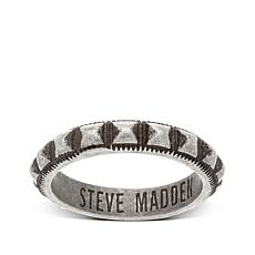 Steve Madden Men's Textured Stud Stainless Steel Ring