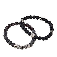 Steve Madden Set of 2 Black and Multi Bead Stretch Bracelets