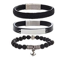 Steve Madden Set of 3 Stainless Steel Men's Bracelets