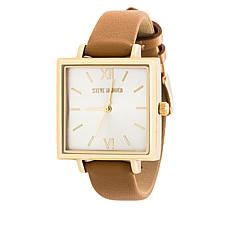 Steve Madden Women's Goldtone Square Case Tan Leather Strap Watch