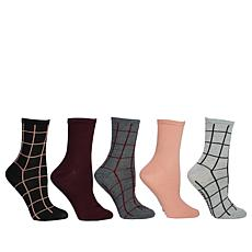 Steven by Steve Madden 5-pack Print and Solid Crew Socks