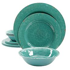 Studio California Mauna Crackle  12-piece Dinnerware Set in Green