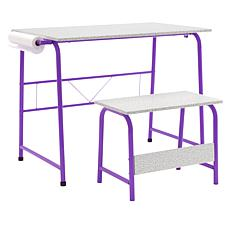 """Studio Designs Project Center Table with Bench and 12"""" Paper Roll"""