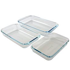 Sunbeam Everyday Casseroles 3-Piece Borosilicate Glass Bakeware Set...