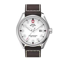"""Swiss Military by Charmex Men's """"Pilot"""" Brown Leather Strap Watch"""