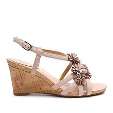 Tahari Favor Leather Floral Wedge Sandal