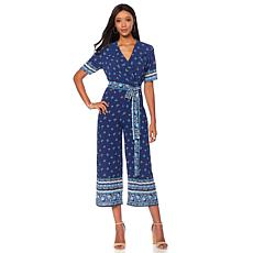 Tash + Sophie Surplice Border Print Jumpsuit with Belt