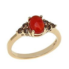 Technibond® 0.24ctw Carnelian and Smoky Quartz Ring