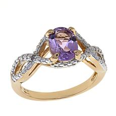 Technibond® 1.11ctw Amethyst and Diamond Twist Ring