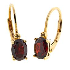 Technibond® 1.91ctw Oval Garnet Diamond-Accented Drop Earrings