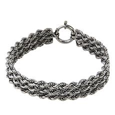 "Technibond® 3-Row Rope Chain 8"" Bracelet - Black"