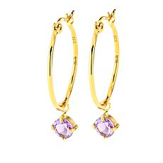 Technibond® Amethyst Drop Hoop Earrings