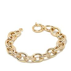 Technibond® Basketweave & Polished Link Bracelet