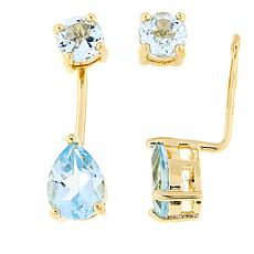 Technibond® Blue Topaz Stud Earrings with Removable Ear Jackets