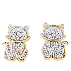 Technibond® Diamond-Accented Cat Stud Earrings