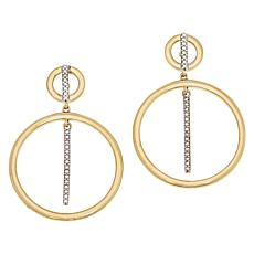 Technibond® Diamond-Accented Circle Stick Drop Earrings