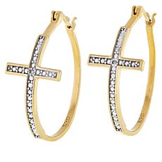 Technibond® Diamond-Accented Cross Hoop Earrings