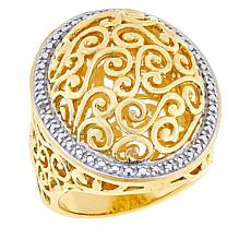 Technibond® Diamond-Accented Filigree Dome Ring