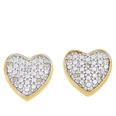 Technibond® Diamond-Accented Heart Stud Earrings
